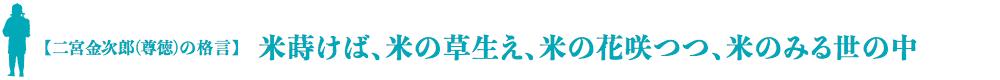 二宮金次郎(尊徳)の格言:米蒔けば、米の草生え、米の花咲つつ、米のみる世の中